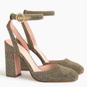NIB J.CREW Harlow ankle-strap pumps in gold Lurex